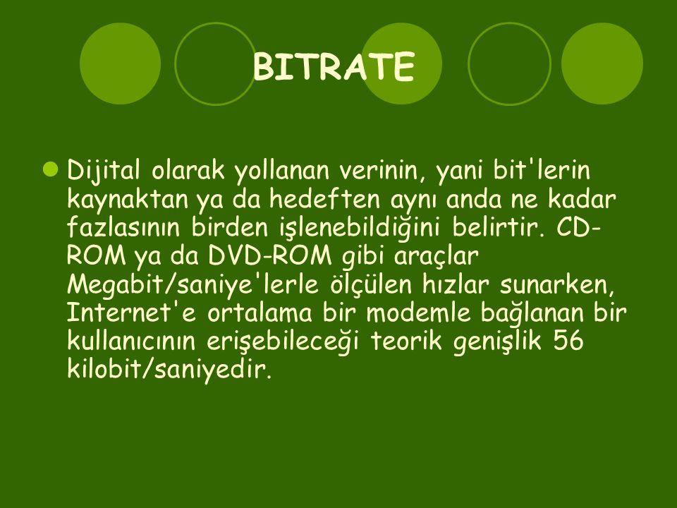 BITRATE  Dijital olarak yollanan verinin, yani bit'lerin kaynaktan ya da hedeften aynı anda ne kadar fazlasının birden işlenebildiğini belirtir. CD-