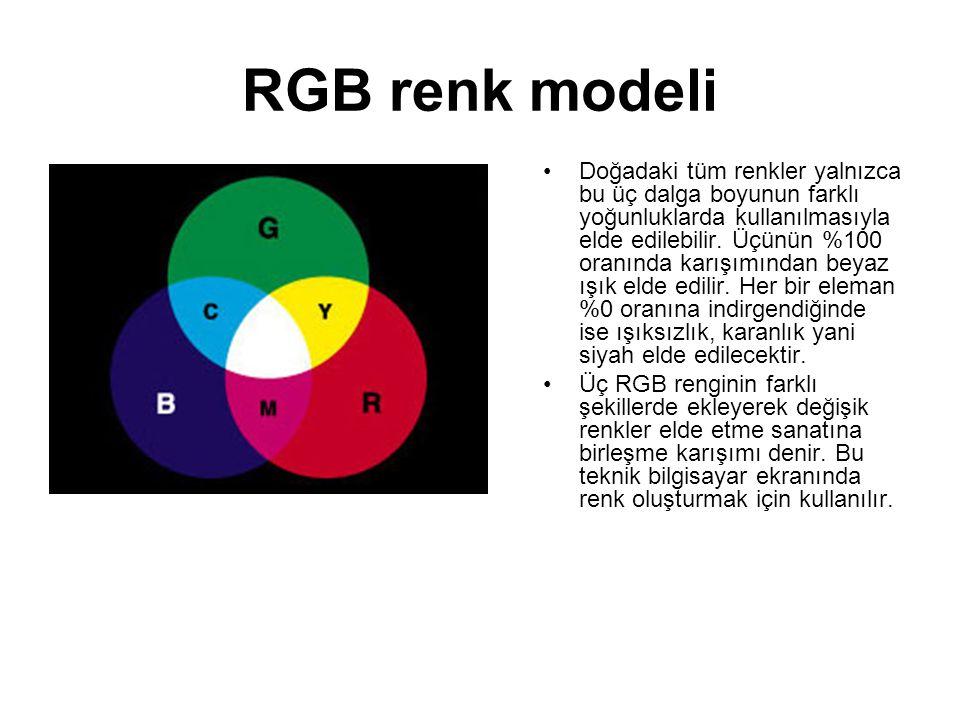 RGB renk modeli •Doğadaki tüm renkler yalnızca bu üç dalga boyunun farklı yoğunluklarda kullanılmasıyla elde edilebilir. Üçünün %100 oranında karışımı