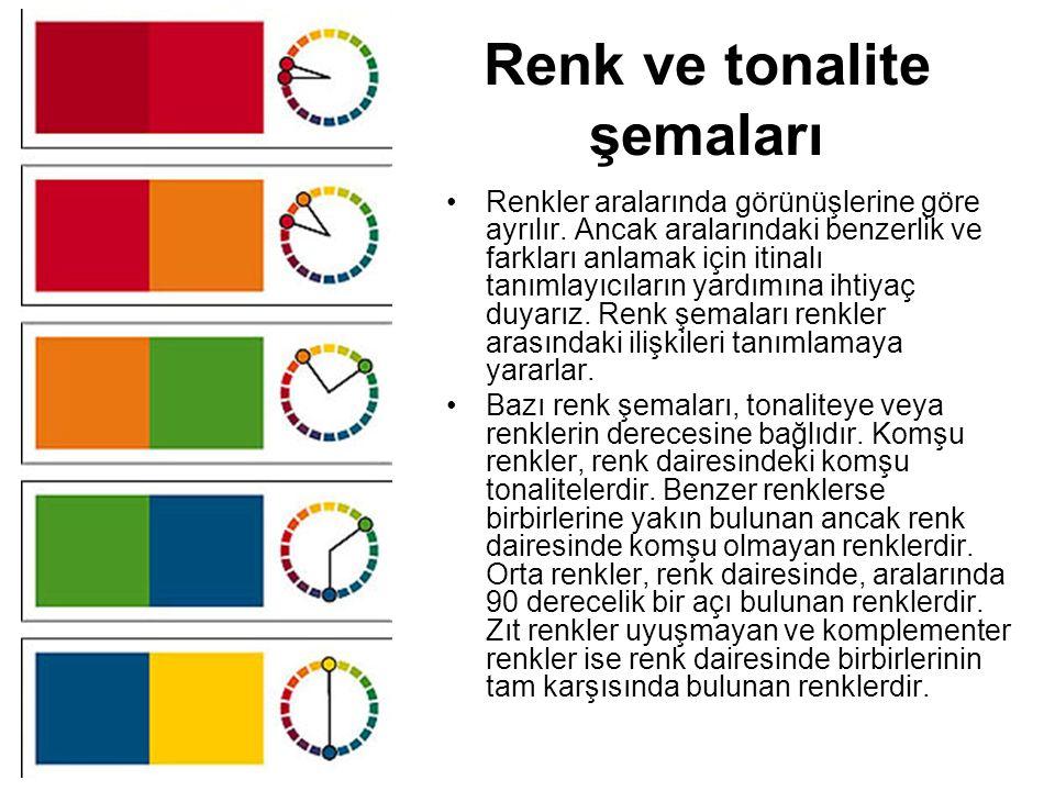 Renk ve tonalite şemaları •Renkler aralarında görünüşlerine göre ayrılır. Ancak aralarındaki benzerlik ve farkları anlamak için itinalı tanımlayıcılar