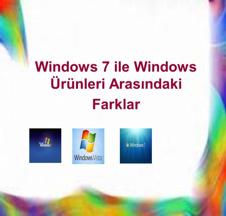 Windows 7 ile Windows Ürünleri Arasındaki Farklar