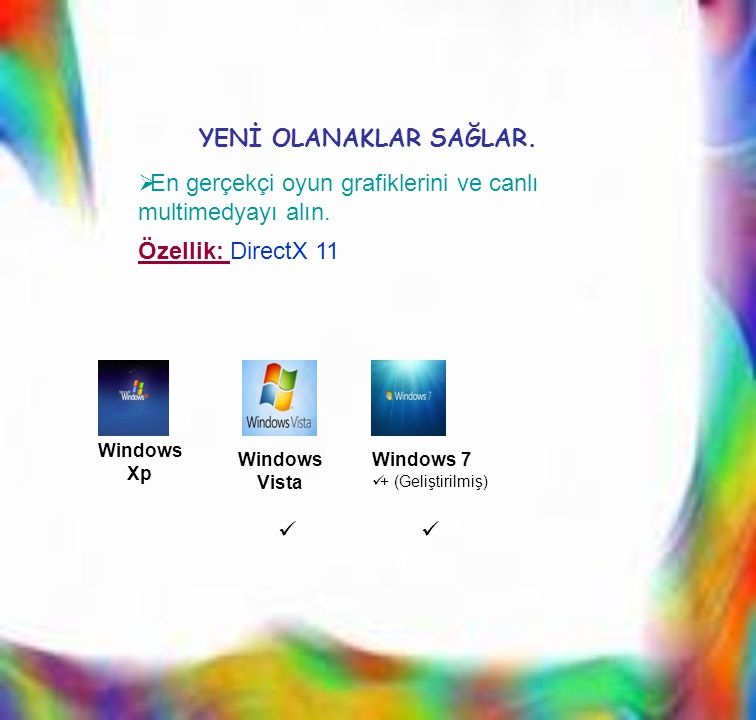 EEn gerçekçi oyun grafiklerini ve canlı multimedyayı alın. Windows Xp Windows Vista Windows 7  + (Geliştirilmiş)   YENİ OLANAKLAR SAĞLAR. Özellik