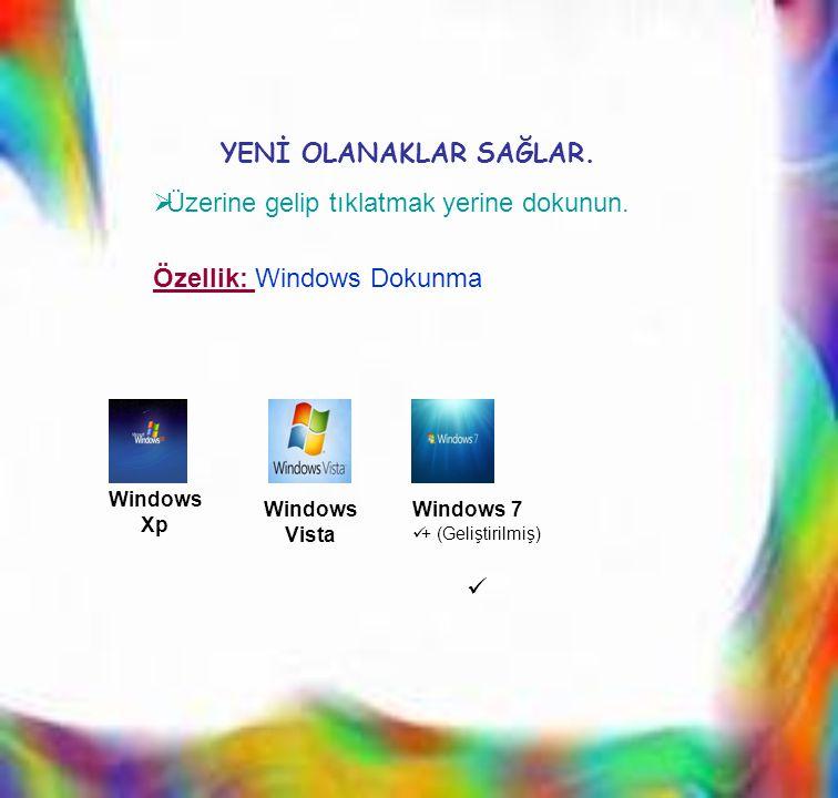 ÜÜzerine gelip tıklatmak yerine dokunun. Windows Xp Windows Vista Windows 7  + (Geliştirilmiş)  YENİ OLANAKLAR SAĞLAR. Özellik: Windows Dokunma