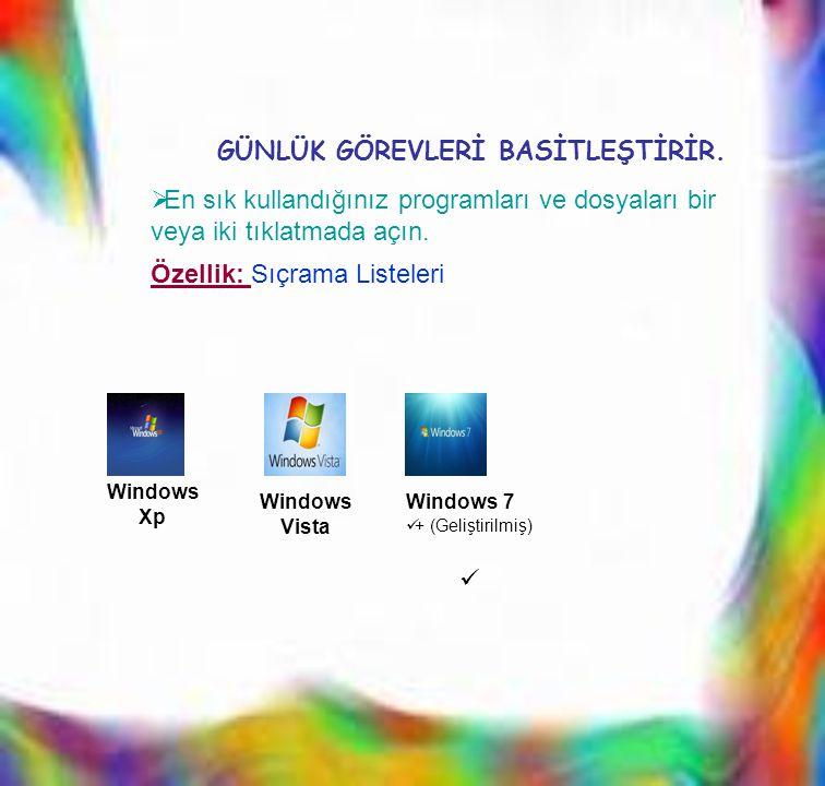 EEn sık kullandığınız programları ve dosyaları bir veya iki tıklatmada açın. Windows Xp Windows Vista Windows 7  + (Geliştirilmiş)  GÜNLÜK GÖREVLE