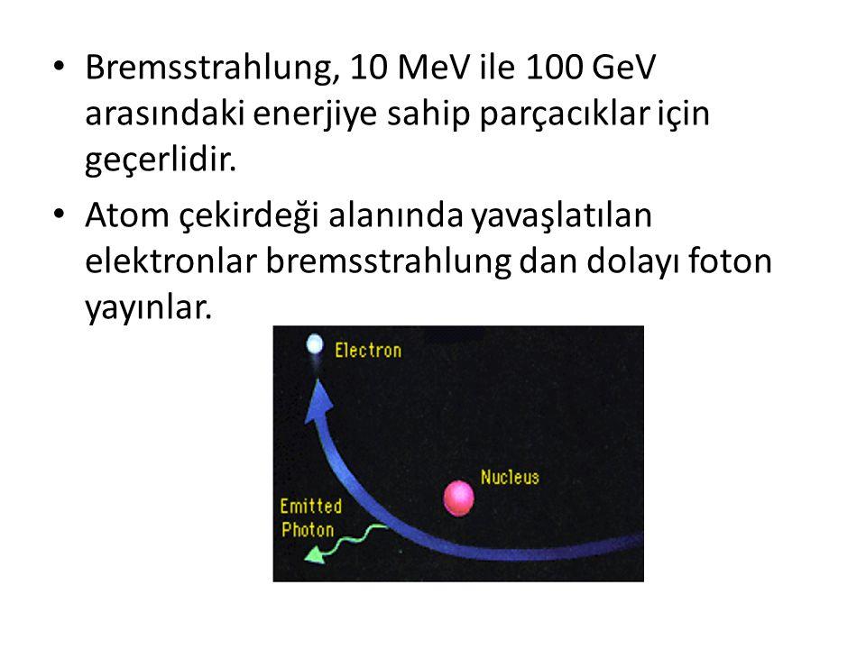 • Bremsstrahlung, 10 MeV ile 100 GeV arasındaki enerjiye sahip parçacıklar için geçerlidir. • Atom çekirdeği alanında yavaşlatılan elektronlar bremsst