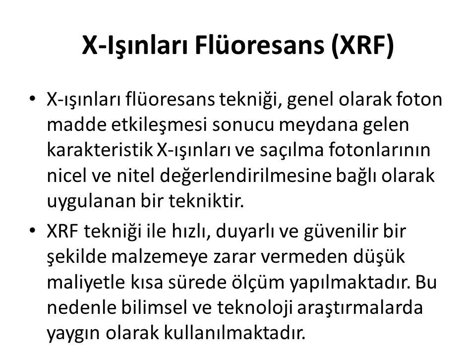 X-Işınları Flüoresans (XRF) • X-ışınları flüoresans tekniği, genel olarak foton madde etkileşmesi sonucu meydana gelen karakteristik X-ışınları ve saç