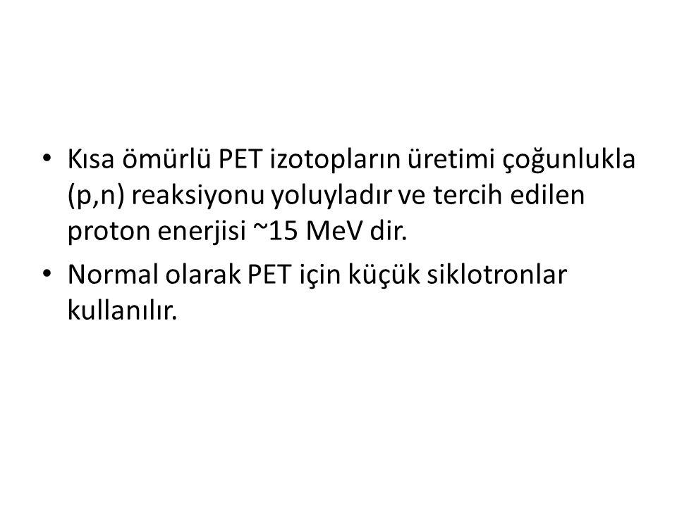 • Kısa ömürlü PET izotopların üretimi çoğunlukla (p,n) reaksiyonu yoluyladır ve tercih edilen proton enerjisi ~15 MeV dir. • Normal olarak PET için kü
