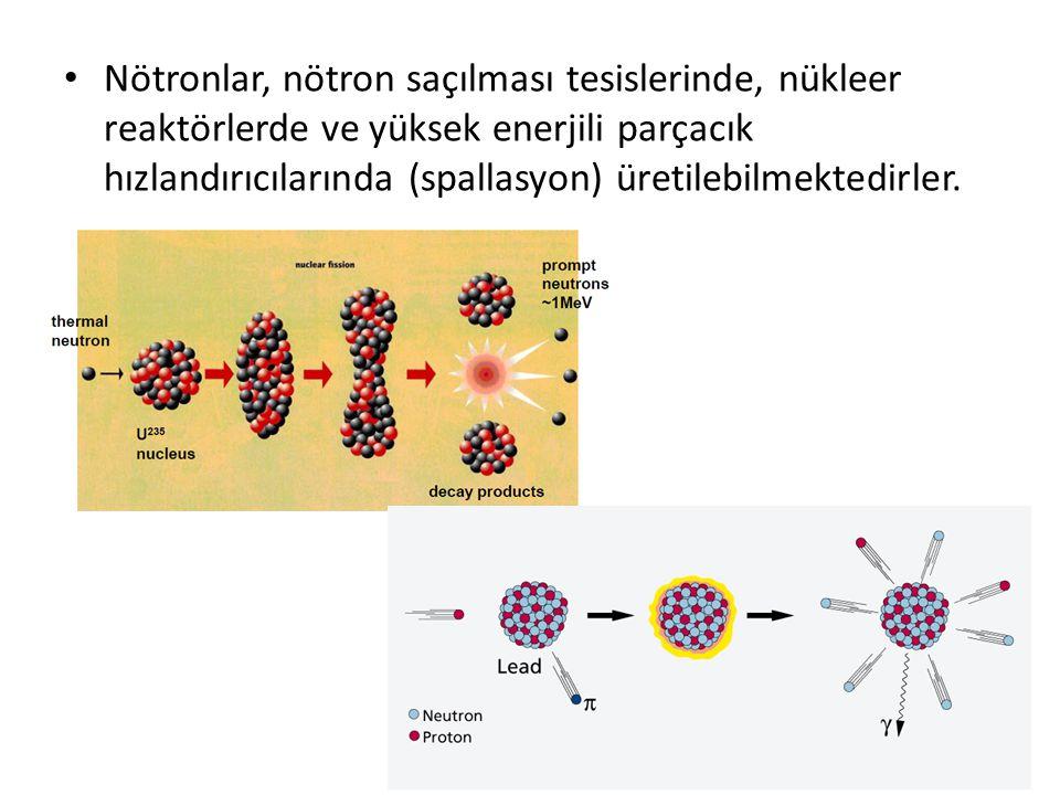 • Nötronlar, nötron saçılması tesislerinde, nükleer reaktörlerde ve yüksek enerjili parçacık hızlandırıcılarında (spallasyon) üretilebilmektedirler.