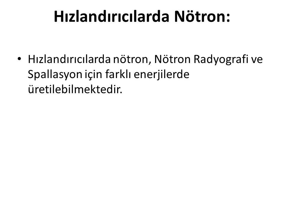 Hızlandırıcılarda Nötron: • Hızlandırıcılarda nötron, Nötron Radyografi ve Spallasyon için farklı enerjilerde üretilebilmektedir.