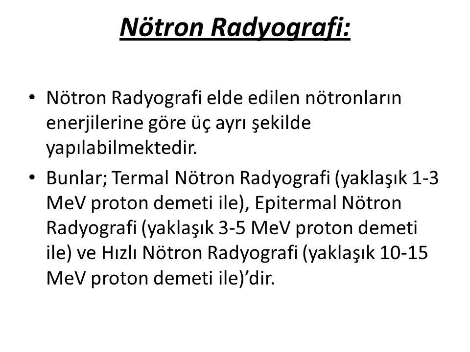 Nötron Radyografi: • Nötron Radyografi elde edilen nötronların enerjilerine göre üç ayrı şekilde yapılabilmektedir. • Bunlar; Termal Nötron Radyografi