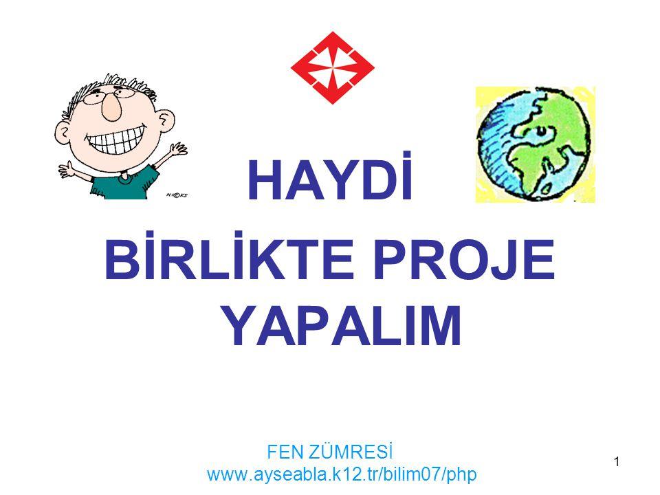 1 HAYDİ BİRLİKTE PROJE YAPALIM FEN ZÜMRESİ www.ayseabla.k12.tr/bilim07/php