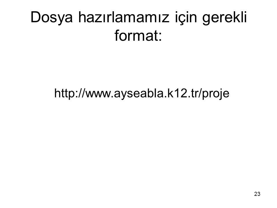 23 Dosya hazırlamamız için gerekli format: http://www.ayseabla.k12.tr/proje