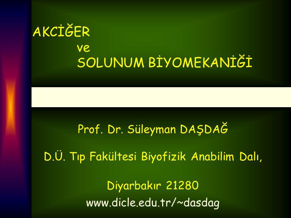 AKCİĞER ve SOLUNUM BİYOMEKANİĞİ Prof. Dr. Süleyman DAŞDAĞ D.Ü. Tıp Fakültesi Biyofizik Anabilim Dalı, Diyarbakır 21280 www.dicle.edu.tr/~dasdag