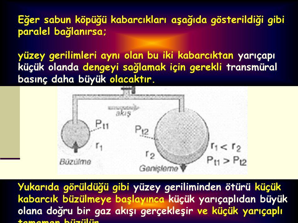 Eğer sabun köpüğü kabarcıkları aşağıda gösterildiği gibi paralel bağlanırsa; yüzey gerilimleri aynı olan bu iki kabarcıktan yarıçapı küçük olanda deng