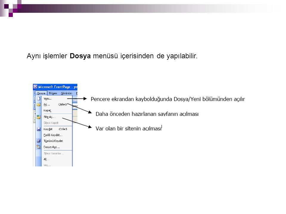Aynı işlemler Dosya menüsü içerisinden de yapılabilir.