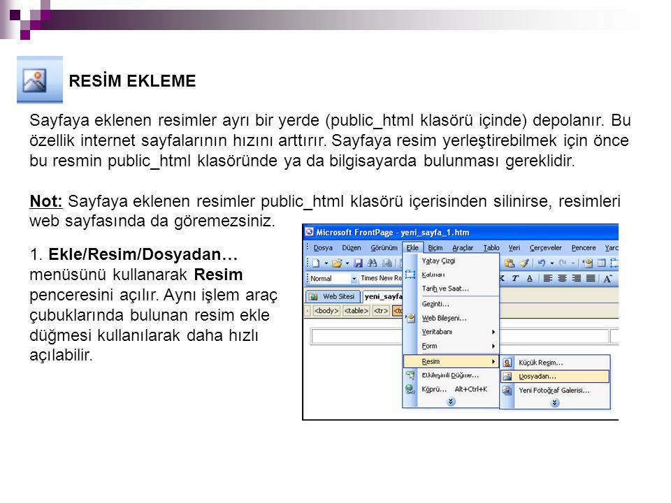 RESİM EKLEME Sayfaya eklenen resimler ayrı bir yerde (public_html klasörü içinde) depolanır.