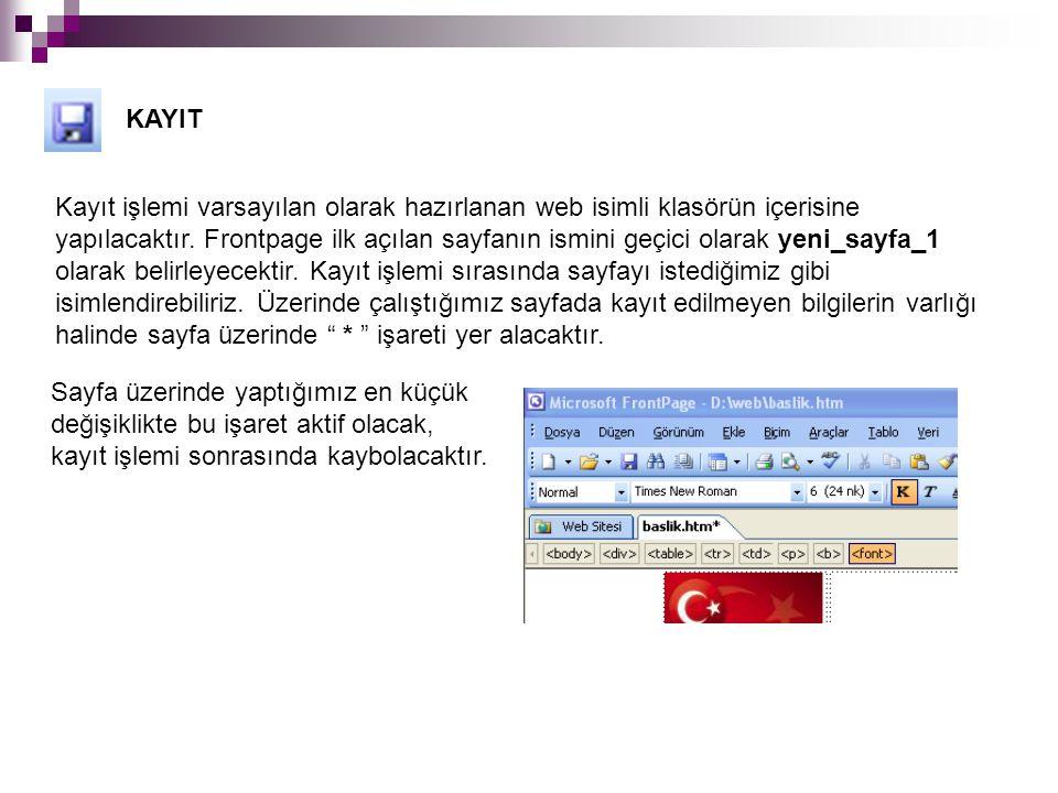 KAYIT Kayıt işlemi varsayılan olarak hazırlanan web isimli klasörün içerisine yapılacaktır. Frontpage ilk açılan sayfanın ismini geçici olarak yeni_sa