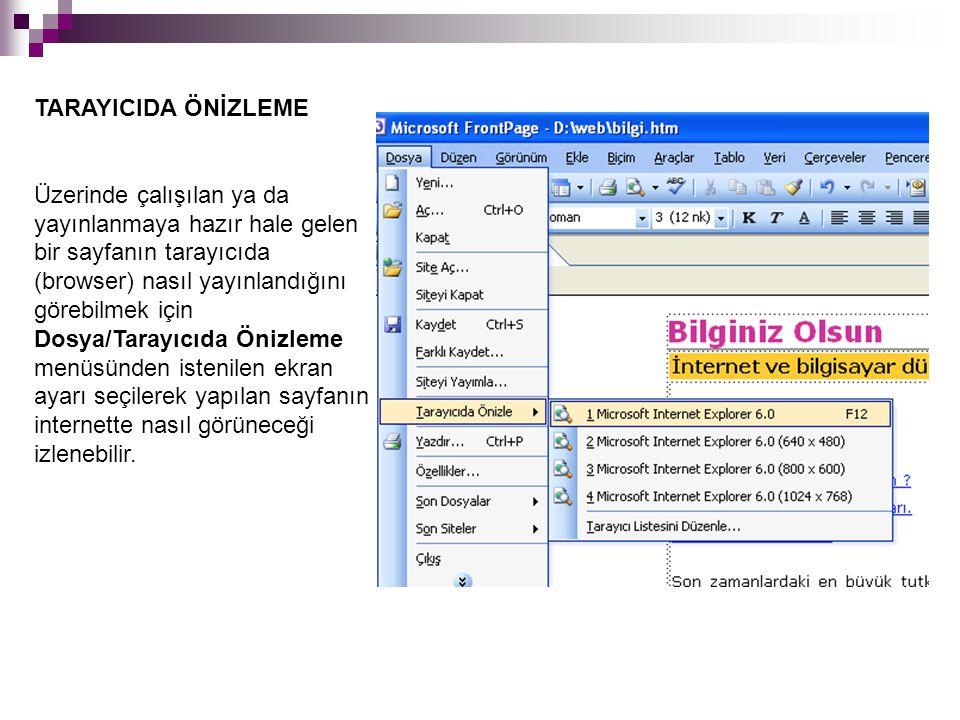 TARAYICIDA ÖNİZLEME Üzerinde çalışılan ya da yayınlanmaya hazır hale gelen bir sayfanın tarayıcıda (browser) nasıl yayınlandığını görebilmek için Dosy