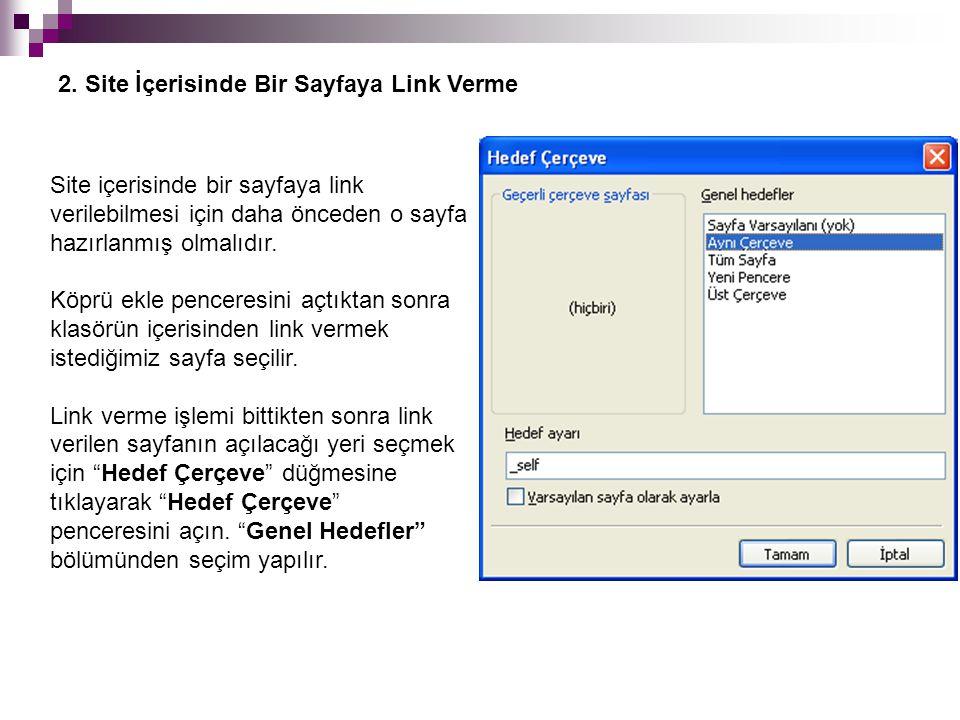 Site içerisinde bir sayfaya link verilebilmesi için daha önceden o sayfa hazırlanmış olmalıdır.
