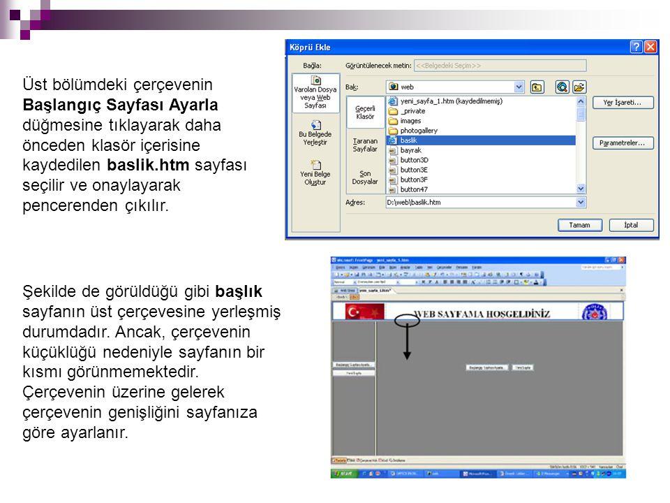 Üst bölümdeki çerçevenin Başlangıç Sayfası Ayarla düğmesine tıklayarak daha önceden klasör içerisine kaydedilen baslik.htm sayfası seçilir ve onaylaya