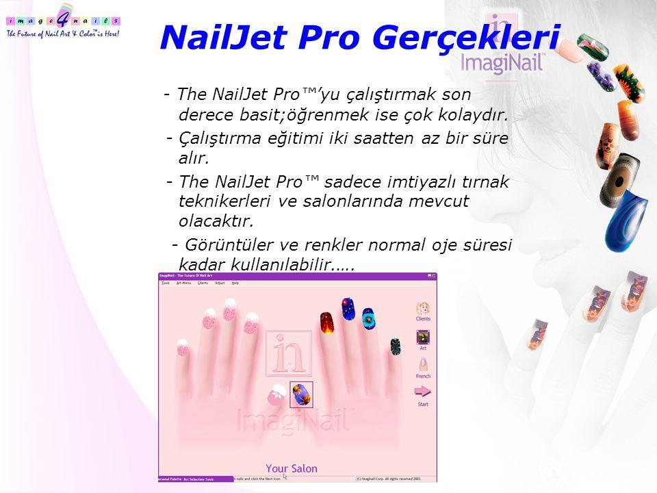 NailJet Pro Gerçekleri - The NailJet Pro™'yu çalıştırmak son derece basit;öğrenmek ise çok kolaydır. - Çalıştırma eğitimi iki saatten az bir süre alır