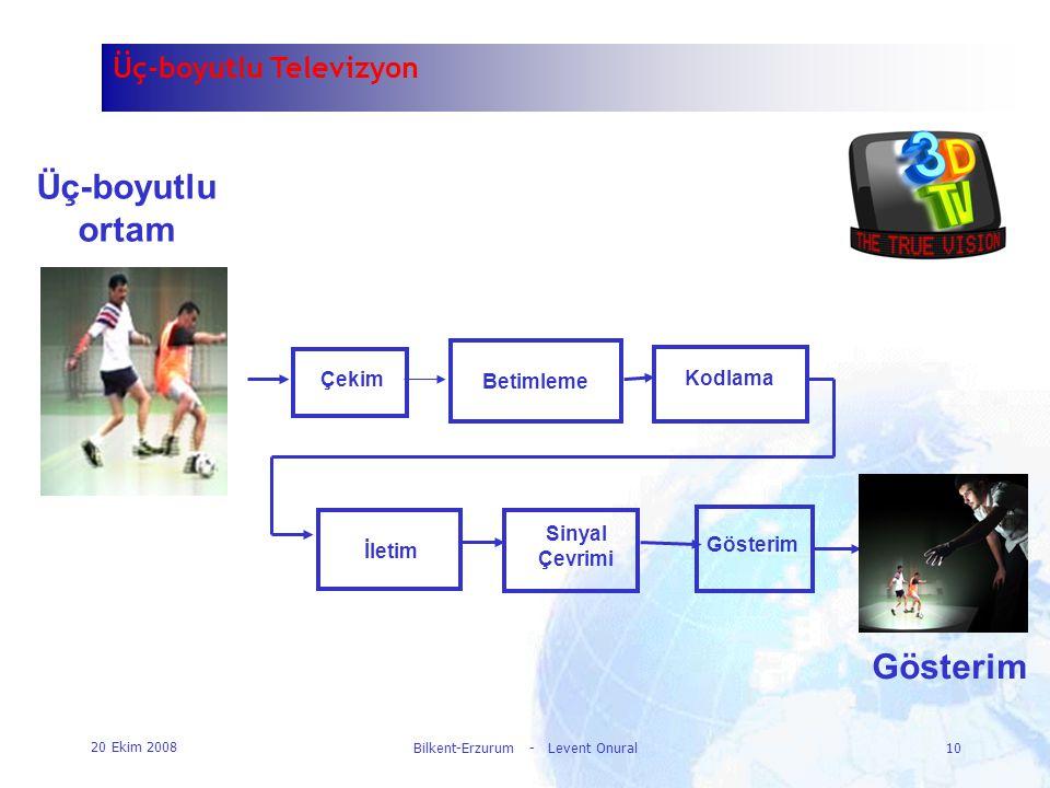 20 Ekim 2008 Bilkent-Erzurum - Levent Onural10 Üç-boyutlu ortam Çekim Betimleme Kodlama Sinyal Çevrimi Gösterim İletim Gösterim Üç-boyutlu Televizyon