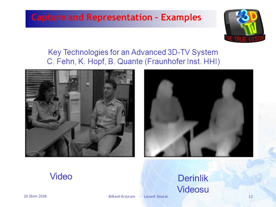 20 Ekim 2008 Bilkent-Erzurum - Levent Onural13 Capture and Representation – Examples Key Technologies for an Advanced 3D-TV System C. Fehn, K. Hopf, B