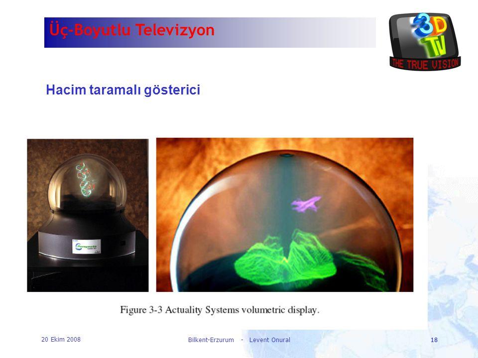 20 Ekim 2008 Bilkent-Erzurum - Levent Onural18 Üç-Boyutlu Televizyon Hacim taramalı gösterici