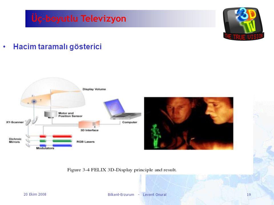 20 Ekim 2008 Bilkent-Erzurum - Levent Onural19 Üç-boyutlu Televizyon •Hacim taramalı gösterici