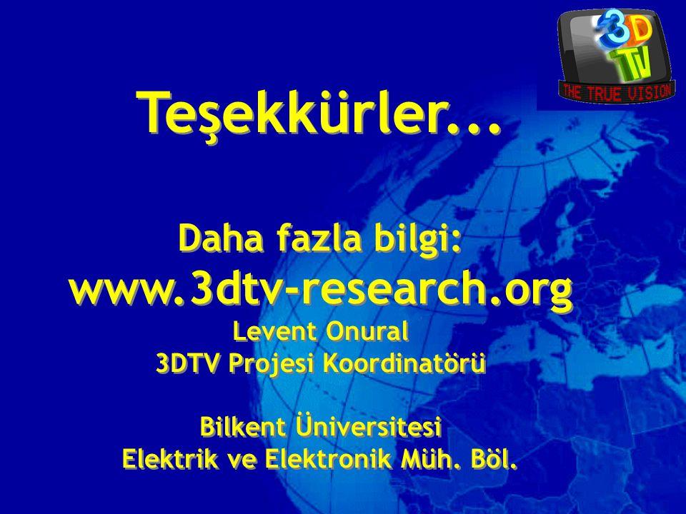 Teşekkürler... Daha fazla bilgi: www.3dtv-research.org Levent Onural 3DTV Projesi Koordinatörü Bilkent Üniversitesi Elektrik ve Elektronik Müh. Böl. T