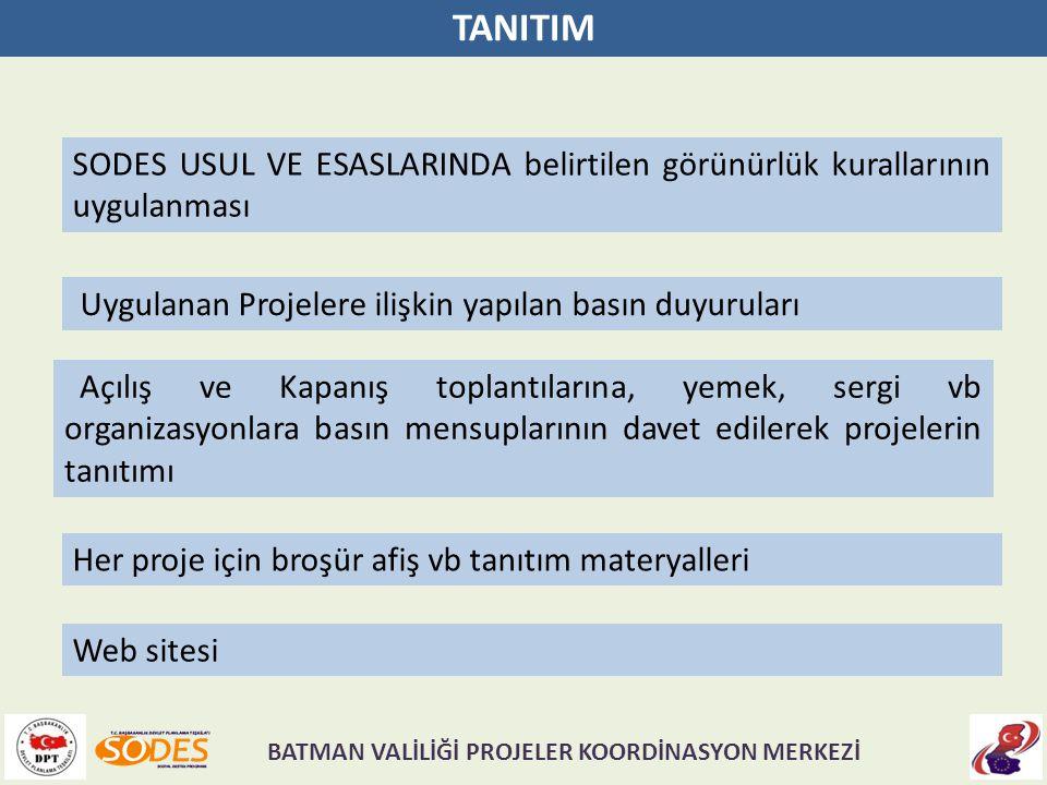 TANITIM SODES USUL VE ESASLARINDA belirtilen görünürlük kurallarının uygulanması Uygulanan Projelere ilişkin yapılan basın duyuruları Açılış ve Kapanı