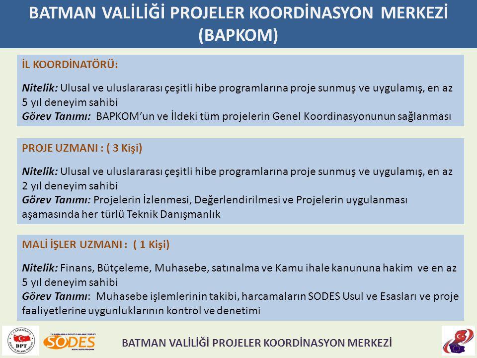 BATMAN VALİLİĞİ PROJELER KOORDİNASYON MERKEZİ (BAPKOM) İL KOORDİNATÖRÜ: Nitelik: Ulusal ve uluslararası çeşitli hibe programlarına proje sunmuş ve uyg