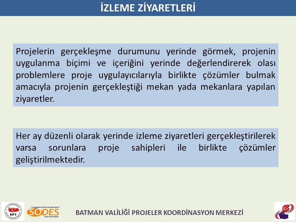 İZLEME ZİYARETLERİ Projelerin gerçekleşme durumunu yerinde görmek, projenin uygulanma biçimi ve içeriğini yerinde değerlendirerek olası problemlere pr