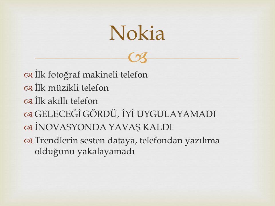   İlk fotoğraf makineli telefon  İlk müzikli telefon  İlk akıllı telefon  GELECEĞİ GÖRDÜ, İYİ UYGULAYAMADI  İNOVASYONDA YAVAŞ KALDI  Trendlerin sesten dataya, telefondan yazılıma olduğunu yakalayamadı Nokia