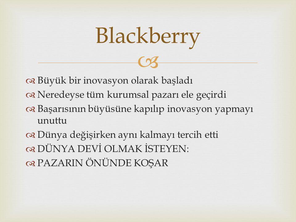   Büyük bir inovasyon olarak başladı  Neredeyse tüm kurumsal pazarı ele geçirdi  Başarısının büyüsüne kapılıp inovasyon yapmayı unuttu  Dünya değişirken aynı kalmayı tercih etti  DÜNYA DEVİ OLMAK İSTEYEN:  PAZARIN ÖNÜNDE KOŞAR Blackberry
