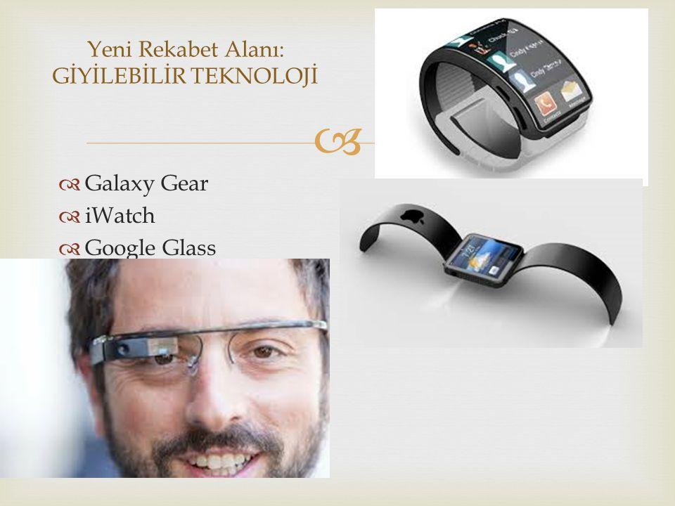   Galaxy Gear  iWatch  Google Glass Yeni Rekabet Alanı: GİYİLEBİLİR TEKNOLOJİ