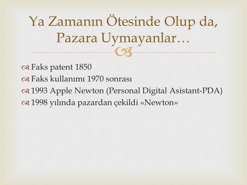   Faks patent 1850  Faks kullanımı 1970 sonrası  1993 Apple Newton (Personal Digital Asistant-PDA)  1998 yılında pazardan çekildi «Newton» Ya Zamanın Ötesinde Olup da, Pazara Uymayanlar…