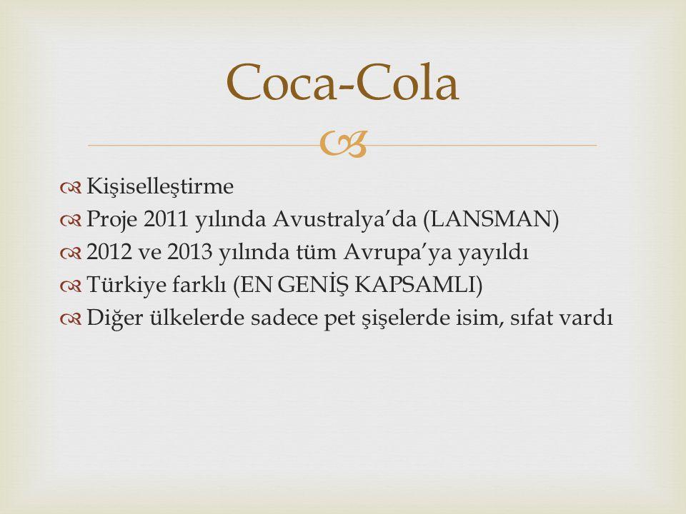   Kişiselleştirme  Proje 2011 yılında Avustralya'da (LANSMAN)  2012 ve 2013 yılında tüm Avrupa'ya yayıldı  Türkiye farklı (EN GENİŞ KAPSAMLI)  Diğer ülkelerde sadece pet şişelerde isim, sıfat vardı Coca-Cola
