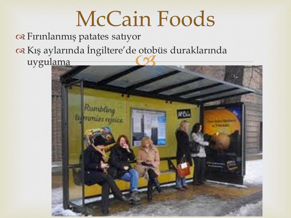   Fırınlanmış patates satıyor  Kış aylarında İngiltere'de otobüs duraklarında uygulama McCain Foods