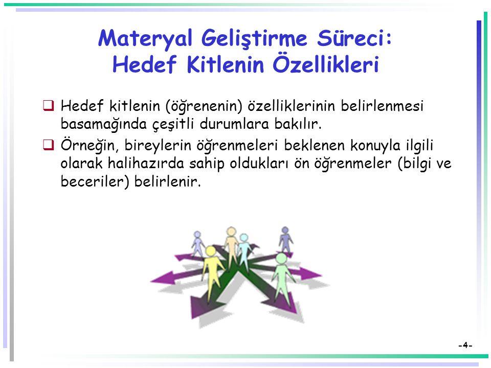 -4- Materyal Geliştirme Süreci: Hedef Kitlenin Özellikleri  Hedef kitlenin (öğrenenin) özelliklerinin belirlenmesi basamağında çeşitli durumlara bakılır.