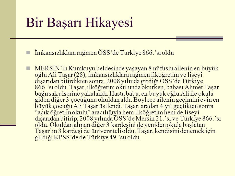 Bir Başarı Hikayesi  İmkansızlıklara rağmen ÖSS'de Türkiye 866.'sı oldu  MERSİN'in Kumkuyu beldesinde yaşayan 8 nüfuslu ailenin en büyük oğlu Ali Ta
