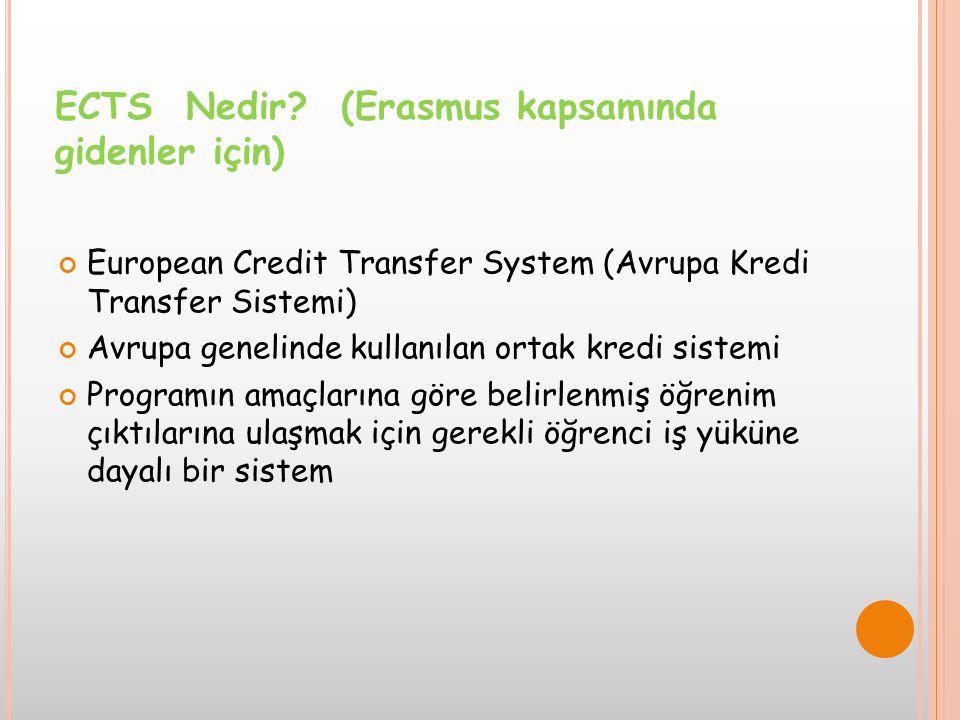 European Credit Transfer System (Avrupa Kredi Transfer Sistemi) Avrupa genelinde kullanılan ortak kredi sistemi Programın amaçlarına göre belirlenmiş