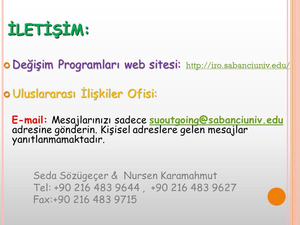 İLETİŞİM: Değişim Programları web sitesi: Değişim Programları web sitesi: http://iro.sabanciuniv.edu/ http://iro.sabanciuniv.edu/ Uluslararası İlişkil