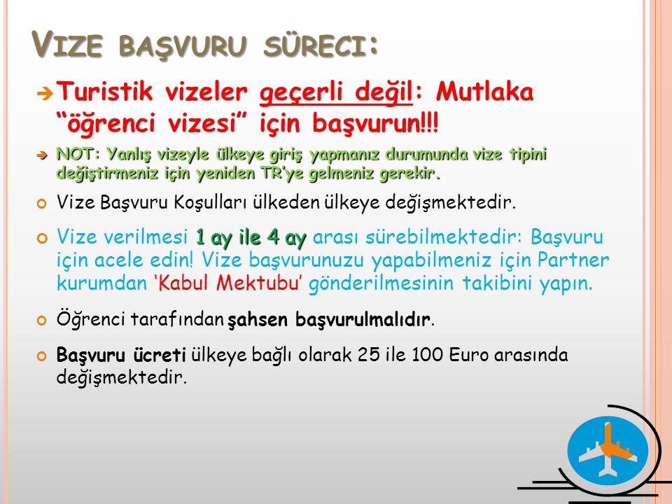 """V IZE BAŞVURU SÜRECI :  Turistik vizeler geçerli değil: Mutlaka """"öğrenci vizesi"""" için başvurun!!!  NOT: Yanlış vizeyle ülkeye giriş yapmanız durumun"""
