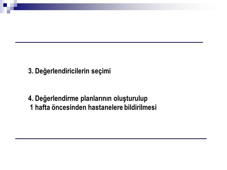 3. Değerlendiricilerin seçimi 4. Değerlendirme planlarının oluşturulup 1 hafta öncesinden hastanelere bildirilmesi