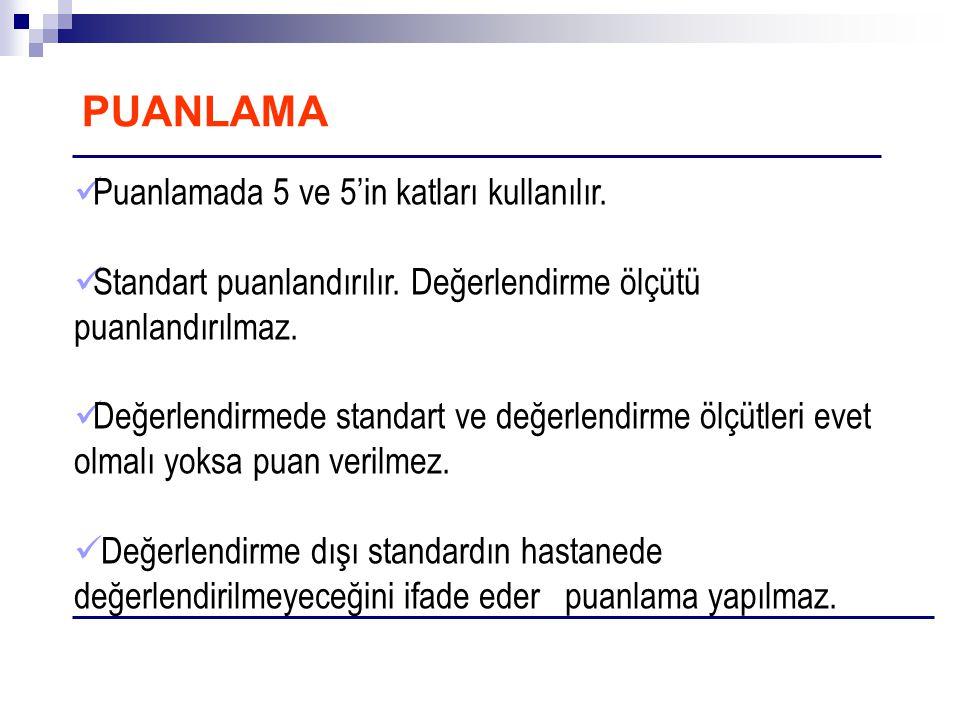 PUANLAMA  Puanlamada 5 ve 5'in katları kullanılır.  Standart puanlandırılır. Değerlendirme ölçütü puanlandırılmaz.  Değerlendirmede standart ve değ