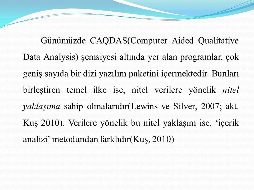 Günümüzde CAQDAS(Computer Aided Qualitative Data Analysis) şemsiyesi altında yer alan programlar, çok geniş sayıda bir dizi yazılım paketini içermekte