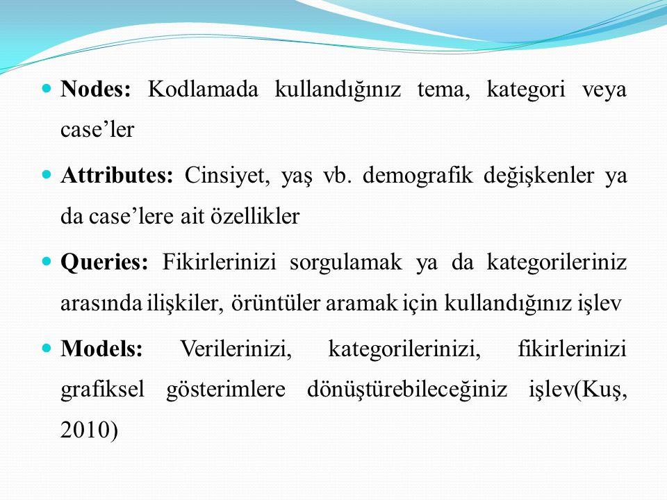  Nodes: Kodlamada kullandığınız tema, kategori veya case'ler  Attributes: Cinsiyet, yaş vb. demografik değişkenler ya da case'lere ait özellikler 