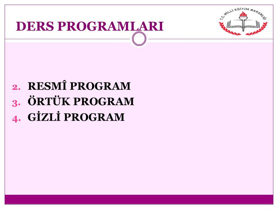 DERS PROGRAMLARI 2. RESMÎ PROGRAM 3. ÖRTÜK PROGRAM 4. GİZLİ PROGRAM