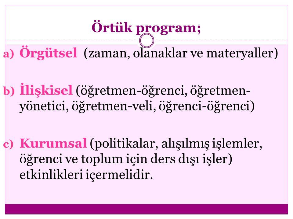 Örtük program; a) Örgütsel (zaman, olanaklar ve materyaller) b) İlişkisel (öğretmen-öğrenci, öğretmen- yönetici, öğretmen-veli, öğrenci-öğrenci) c) Kurumsal (politikalar, alışılmış işlemler, öğrenci ve toplum için ders dışı işler) etkinlikleri içermelidir.