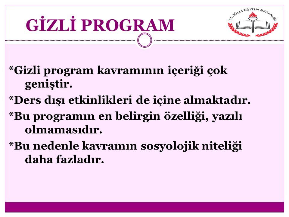 GİZLİ PROGRAM *Gizli program kavramının içeriği çok geniştir.